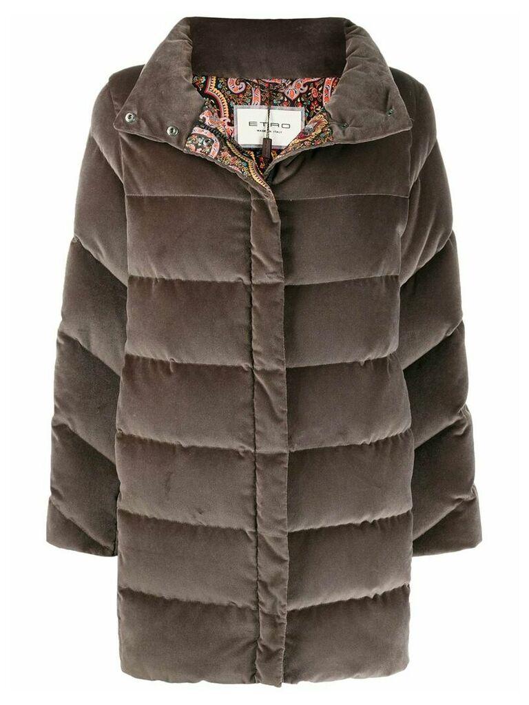Etro panelled padded coat - Grey