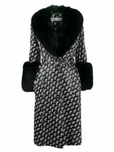 Saks Potts Foxy logo print coat - Black