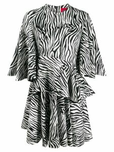 Solace London zebra-print draped dress - Black