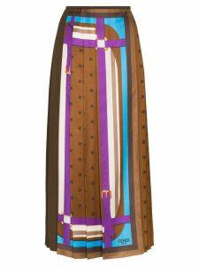 Fendi monogram print pleated skirt - Brown