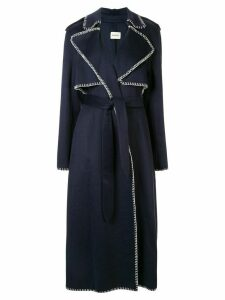 Khaite stitch detail trench coat - Blue