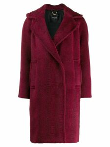 Paltò herringbone woven coat - Red
