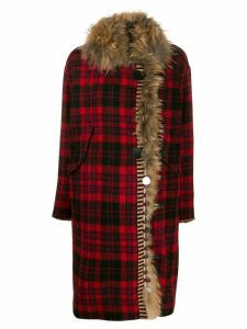 Bazar Deluxe toggle-fastening tartan coat - Red