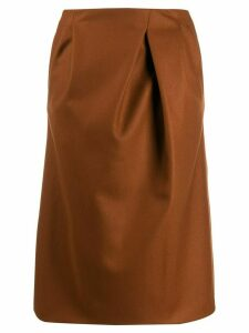 Rochas straight midi skirt - Brown