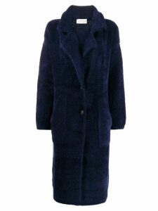 Chiara Bertani shearling single-breasted coat - Blue
