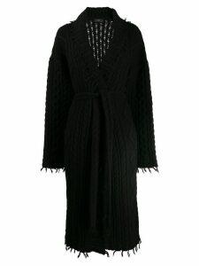 Alanui belted aran-knit cardi-coat - Black