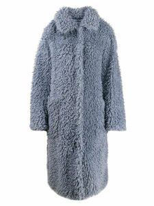 STAND STUDIO shearling long coat - Blue