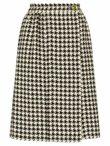 Gucci pleated houndstooth high-waisted skirt - White