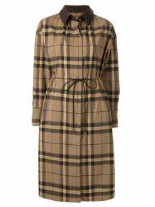 Loveless drawstring waist check coat - Brown
