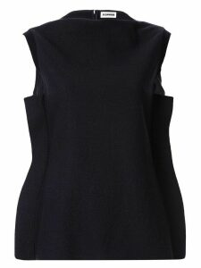 Jil Sander frilled sleeveless blouse - Blue