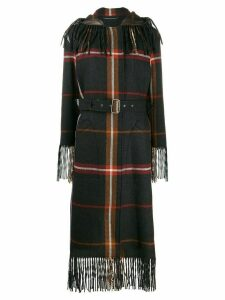 Salvatore Ferragamo fringed tartan coat - Grey