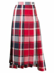 Thom Browne pleated check midi skirt - Red