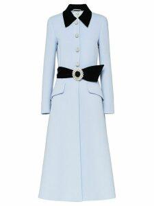 Miu Miu embellished belted coat - Blue