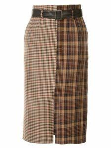 Loveless high-waist check skirt - Brown
