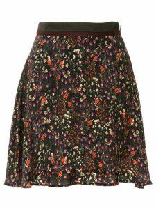 Loveless high waist floral pattern skirt - Black
