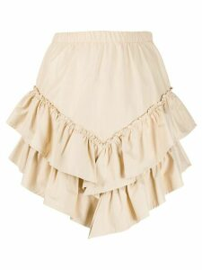 SO ALLURE asymmetric tiered short skirt - Neutrals