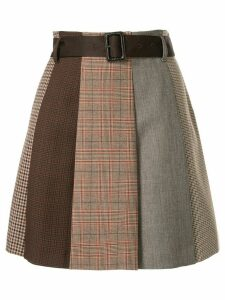 Loveless belted panelled skirt - Brown