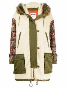 Moschino embellished sleeve parka coat - Neutrals