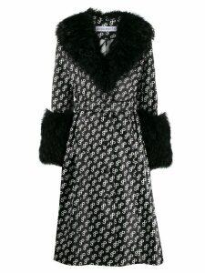 Saks Potts Foxy logo-print trench coat - Black
