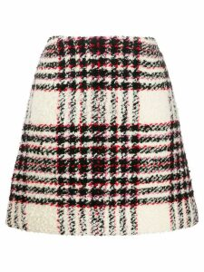 Tory Burch checked A-line skirt - White