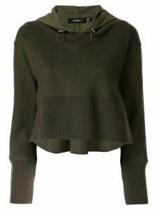 Goen.J contrast panelled hoodie - Green