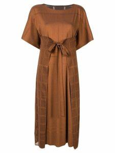 Pleats Please Issey Miyake tie waist boxy fit dress - Brown