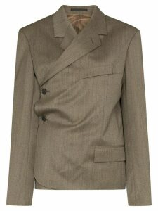 Martine Rose wrap-around side-button blazer - Brown