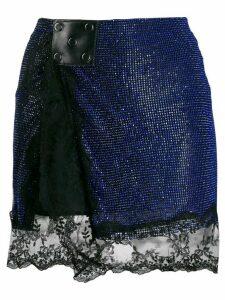 Christopher Kane crystal mesh mini skirt - Blue