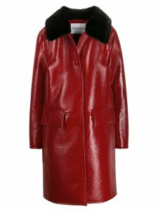 STAND STUDIO boxy fit fur-trimmed coat - Red