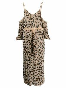 Retrofete leopard print cold-shoulder dress - Neutrals