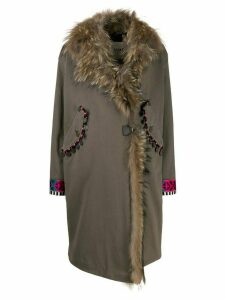 Bazar Deluxe faux fur trim wrap coat - Grey