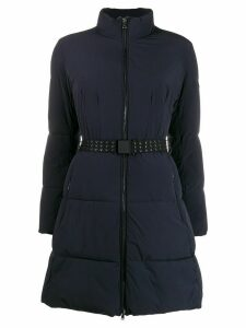 Emporio Armani belted funnel-neck padded coat - Blue