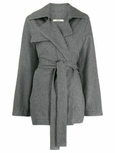 Odeeh belted oversized coat - Grey