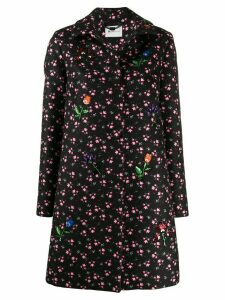 be blumarine sequine-embellished floral coat - Black