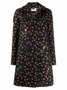 be blumarine sequin-embellished floral coat - Black