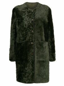 Tory Burch textured shearling coat - Green