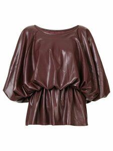 Goen.J voluminous vegan leather top - Brown