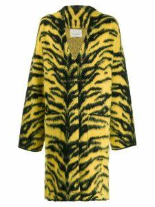 Laneus animal print cardi-coat - Yellow