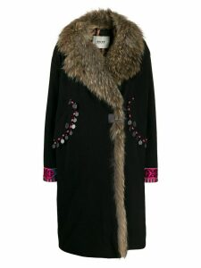 Bazar Deluxe faux fur trim wrap coat - Black