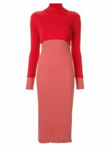 Goen.J two-tone ribbed dress - Red