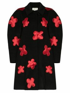 Shushu/Tong floral-appliqued wool coat - Black