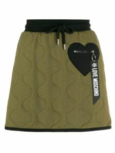 Love Moschino black-heart padded skirt - Green