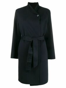 Emporio Armani belted shawl-collar coat - Blue