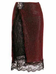 Christopher Kane crystal mesh skirt - Red