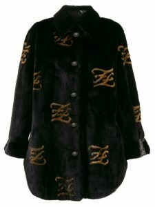 Fendi FF motif furry coat - Black