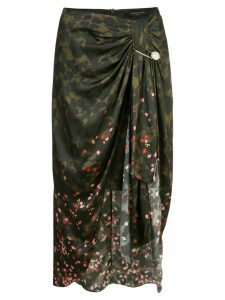 Mother Of Pearl draped camouflage print skirt - Green