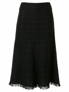 Goen.J Tweed flared midi skirt - Black