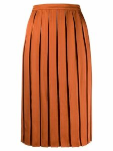 Plan C pleated midi skirt - Orange