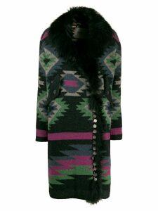 Bazar Deluxe Aztec wrap coat - Black