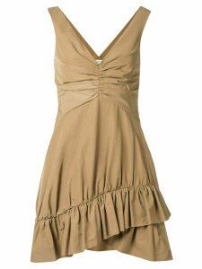 Goen.J ruffled trim mini dress - Brown